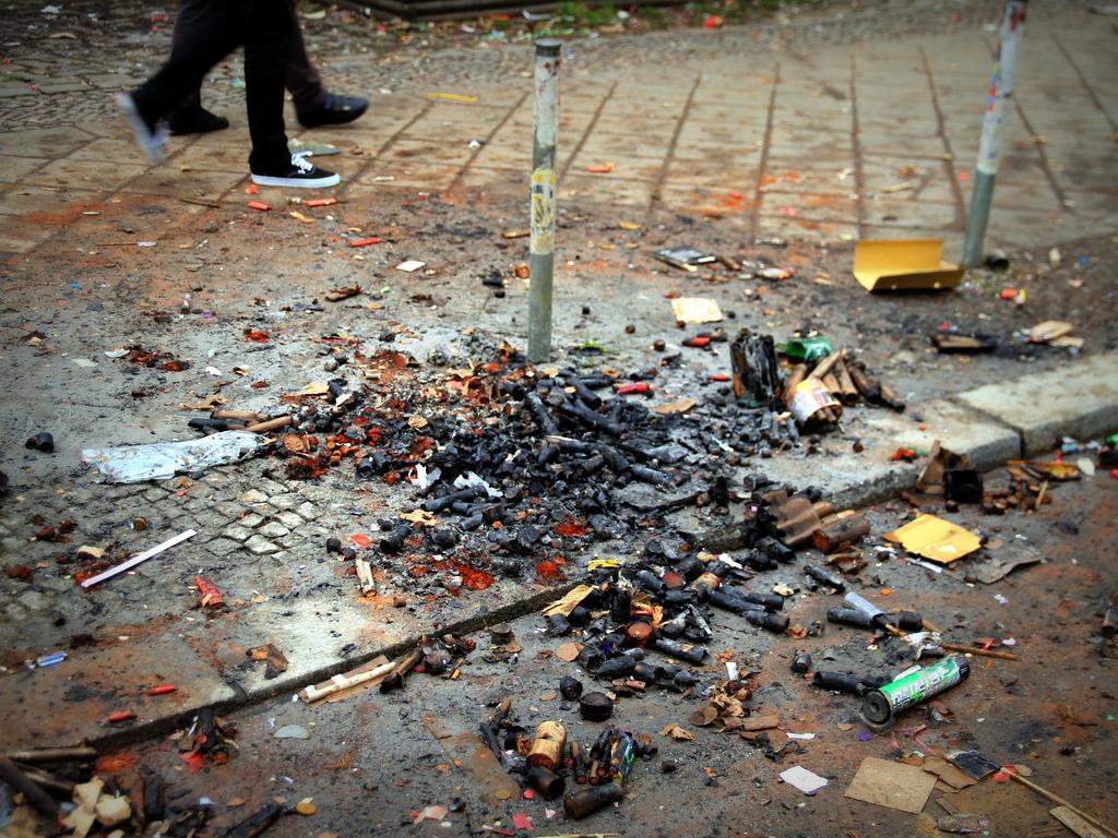 Überreste von Silvester in Berlin-Friedrichshain // CC Andreas Lehner/rundreisen.org
